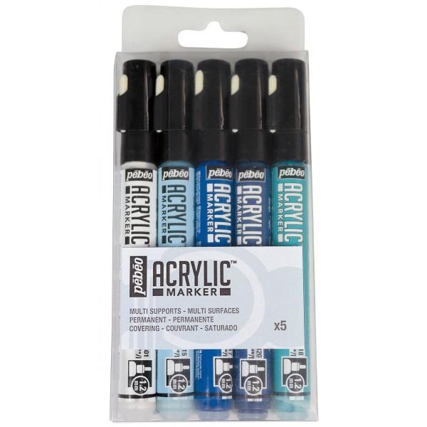 set marqueurs peinture acrylique acrylic marker pointe fine 1 2 mm 6 pcs