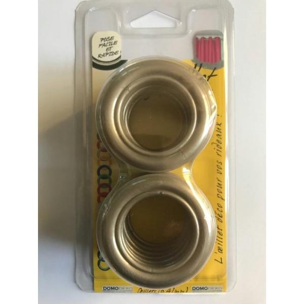 oeillets pour rideaux a clipser lot de 8 coloris beige fonce sable 102 o 41mm