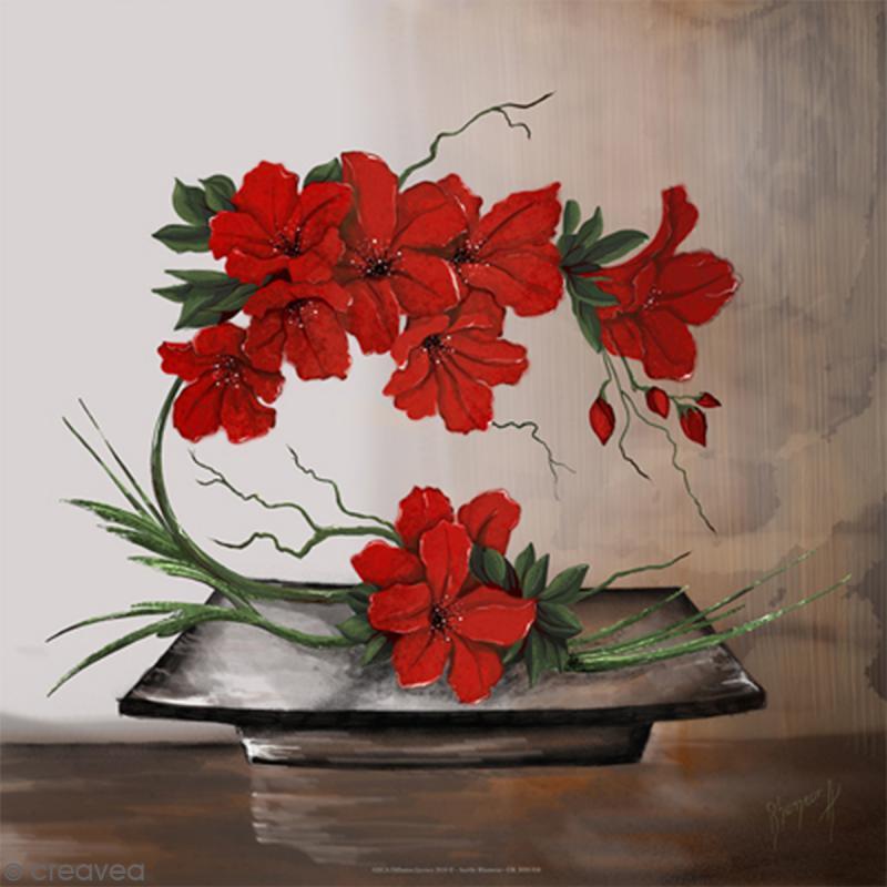 Image 3D Composition Florale Rouge 30 X 30 Cm Images