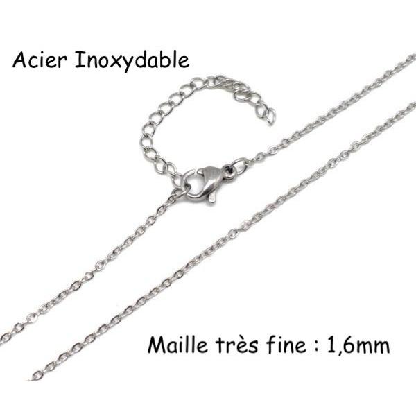 r collier chaine tres fine maille forcat en acier inoxydable argente avec fermoir 45cm chain