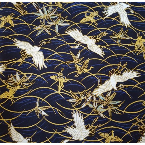 coupon tissu japonais gru dore