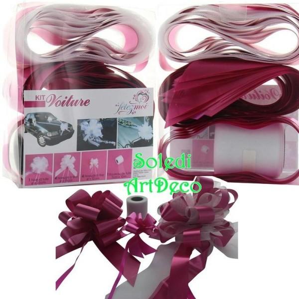 kit de decoration mariage festif rose fuchsia 10 pieces pr voiture de maries tulle noeuds