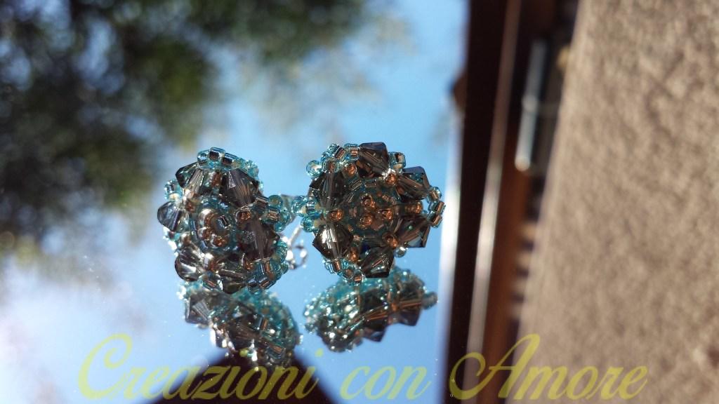 Orecchini triangolare cristalli sfaccettati swarovski