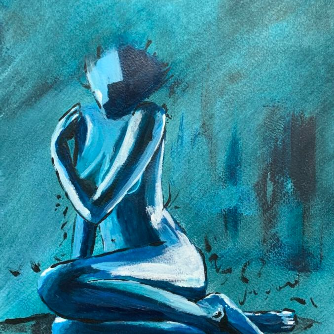 girl in blue - mixed media