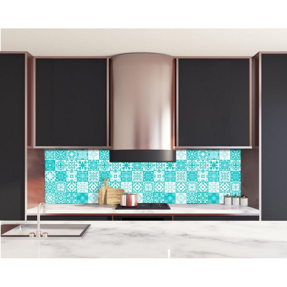 Crdence de cuisine carreaux mosaque turquoise  Verre  aluminium