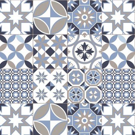 credence de cuisine carreaux ciment geometrique bleu taupe pas cher