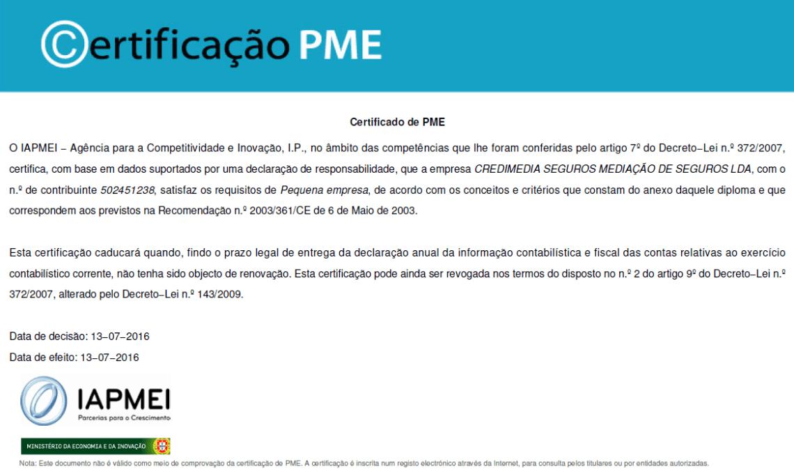 certificado PME