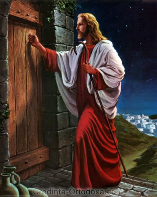 Un pictor L-a prezentat pe Mântuitorul Iisus Hristos bătând la uşa grea a unei cetăţi şi ascultând dacă se apropie cineva să-i deschidă... mânerul este insa pe dinăuntru, depinde de noi daca vrem sau nu sa-i deschidem... Sa luam aminte! * www.credinta-ortodoxa.com