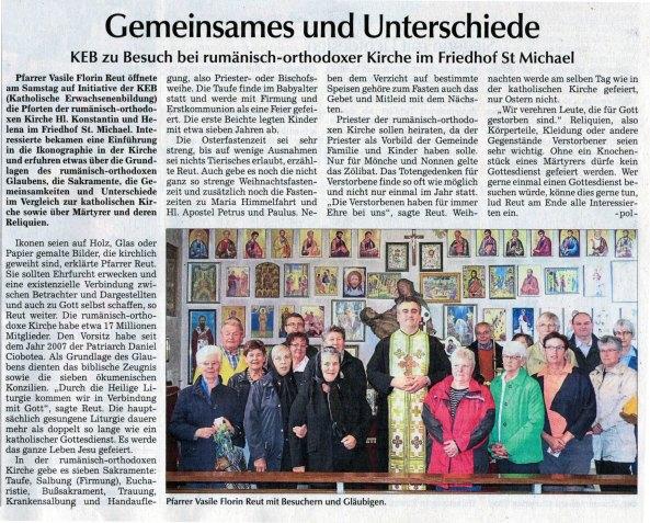 Straubinger Tagblatt - Gemeinsames und Unterschiede: Vorstellung der rumänisch orthodoxen Kirche an die Katholische Erwachsenenbildung Straubing-Bogen