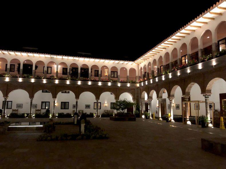 JW Marriott Cusco courtyard at night