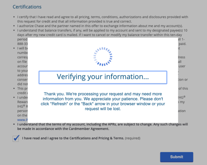 "Chase ""verifying your information"" screen"