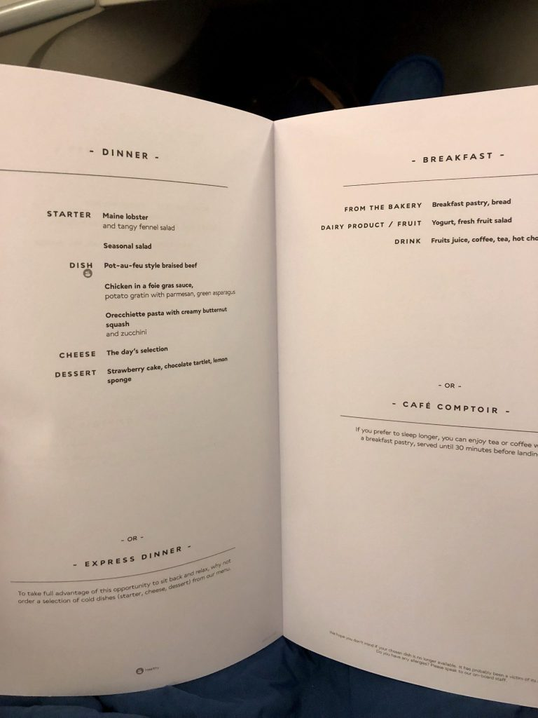 Air France 777 Business Class Dinner Menu