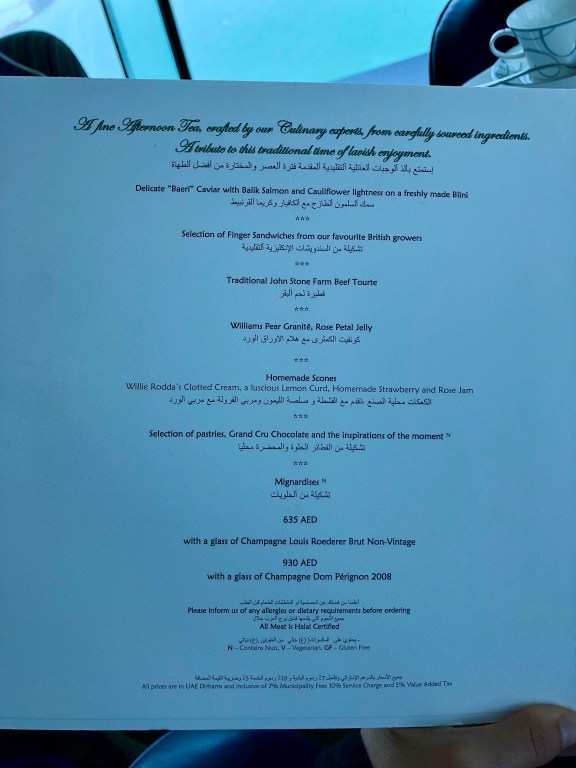 Burj Al Arab Skyview Bar Afternoon Tea Menu