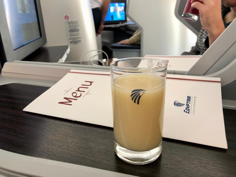 EgyptAir Business Class Welcome Drink