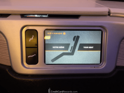 Air Canada Business Class Seat Controls