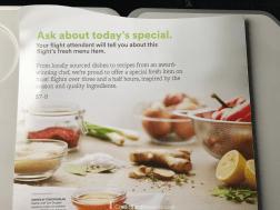 Alaska Airlines Premium Class Food Menu