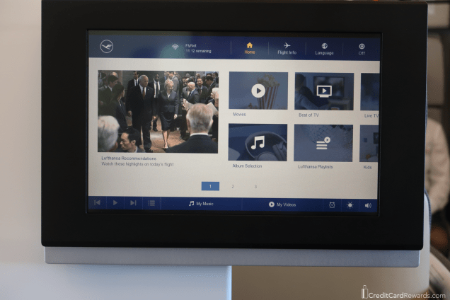 Lufthansa First Class Video Screen