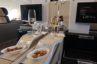 Lufthansa First Class Champagne and Nuts