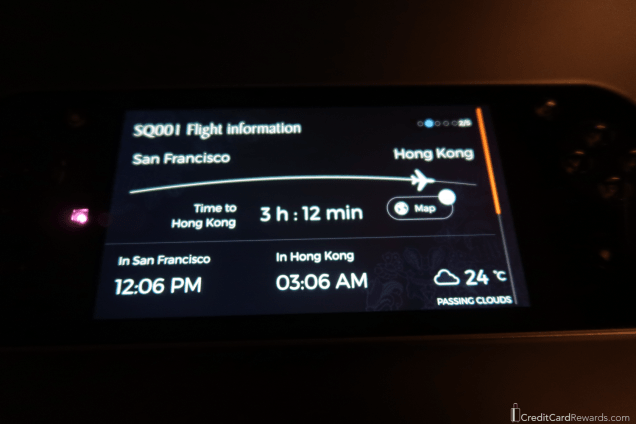 Singapore Airlines Business Class Remote Control Flight Status Screen