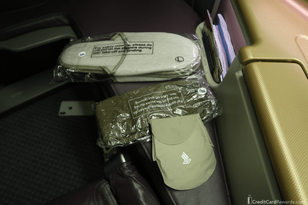 Singapore Airlines Business Class Amenities - Slippers, Socks, and Eye Shades