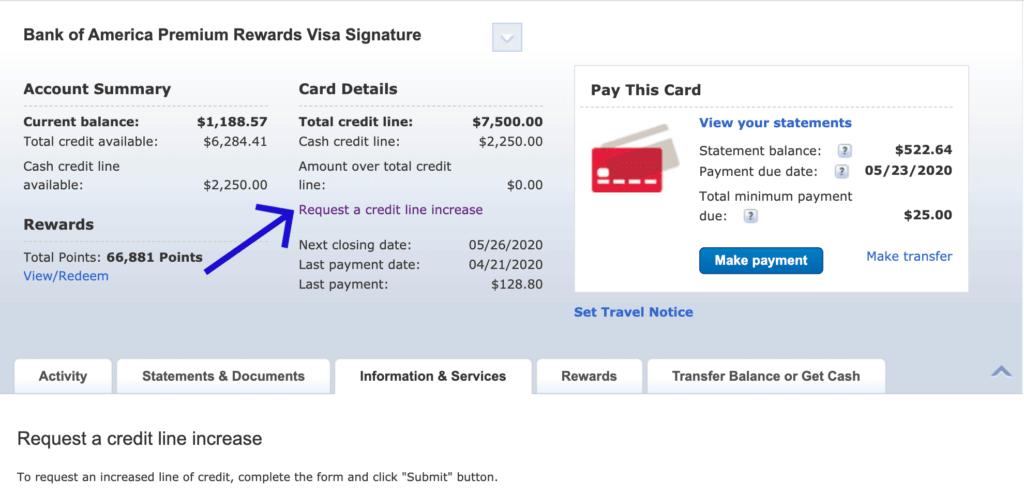requesting credit increase