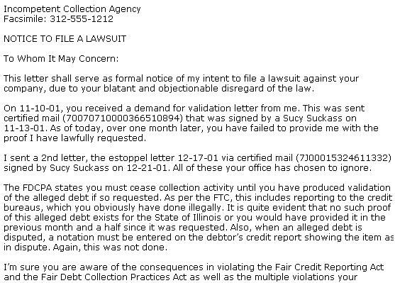 Fair debt collection practices act response letter for Intent to sue letter template