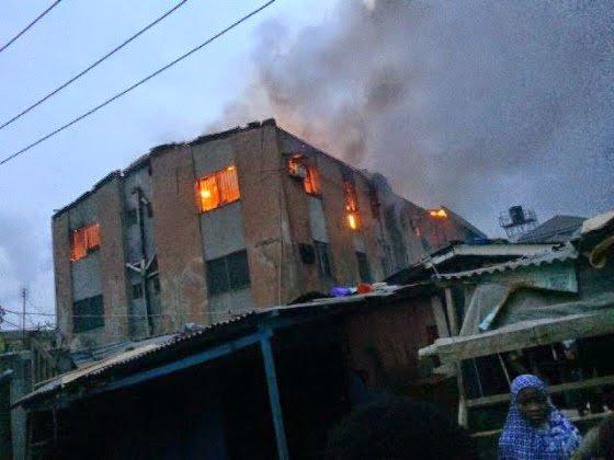 Fire gutted a 2 storey building at Hassan Idowu street