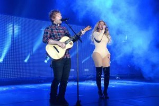 Beyonce and Ed Sheeran performing at Global Citizen Festival 2015