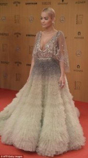 Rita Ora sexy,Phenomenal in Risque Plunging Pleated Ballgown on The Red Carpet of Bambi Awards Berlin