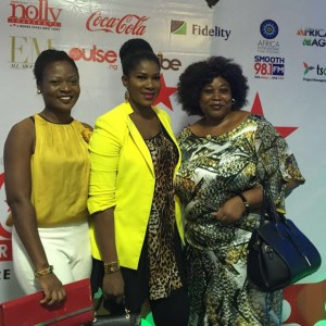 Stephanie Okereke Linus classy in Yellow Jacket,black Leopard Top at the Private Screening of Her Movie Dry