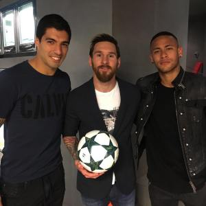 Men in Black as Messi, Suarez and Neymar Poses after a Thrilling Night of Champions League Football