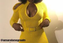 Fans React as Chioma Squeezes Her boobs in a Figure Hugging Net Dress