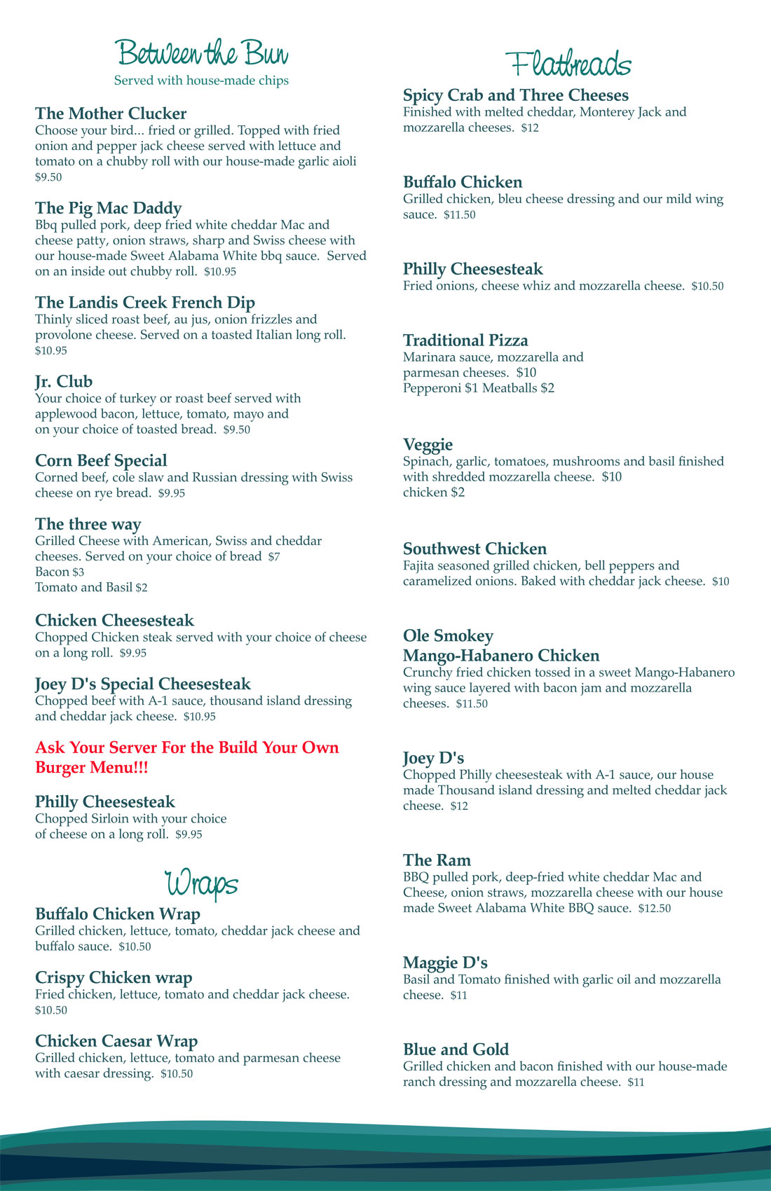 Food Menu Creekside Sports Bar Amp Grille