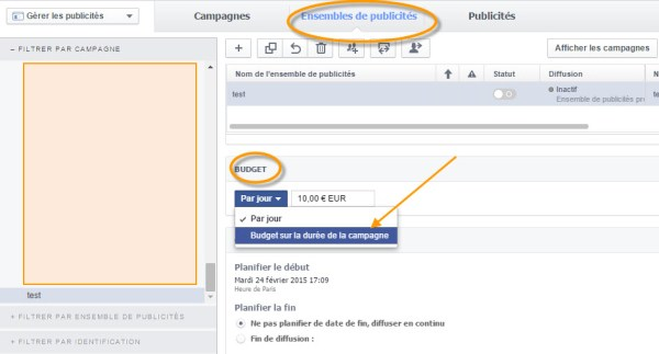 Budget total dans Facebook Ads
