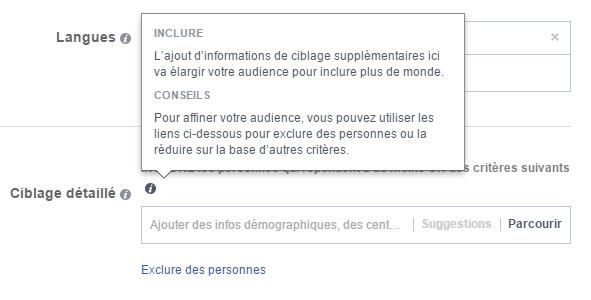 Ciblage des centres d'intérêts ou comportements dans Facebook