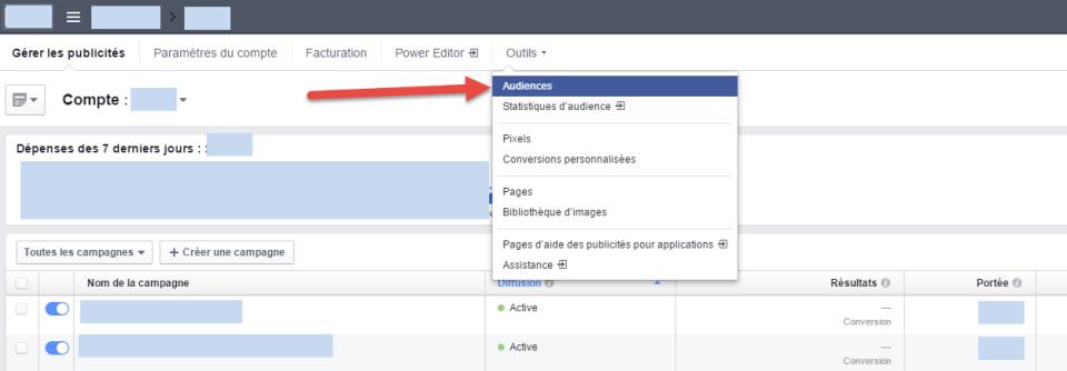 L'onglet Audience dans le gestionnaire de publicités Facebook