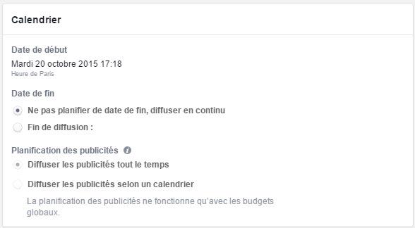 Calendrier des annonces dur Facebook