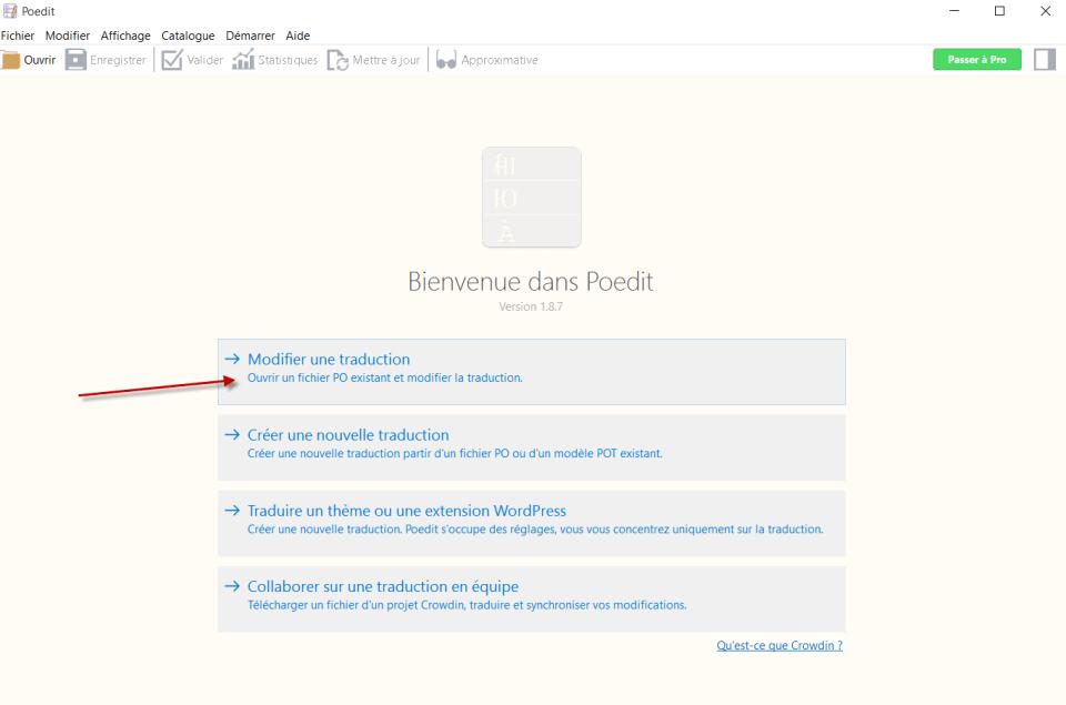 """Dans Poedit, sélectionner """"Modifier une traduction"""" à l'ouverture"""