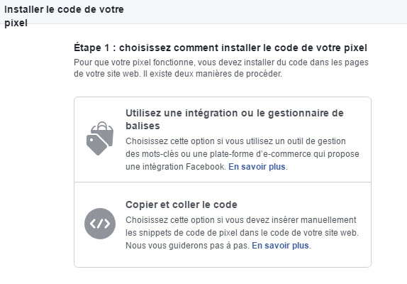 2 options pour installer le code pixel Facebook