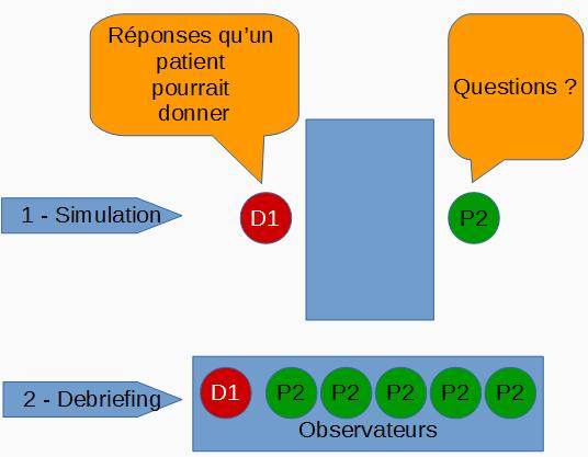 Schéma type d'une séance de simulation de diagnostic et d'interrogatoire