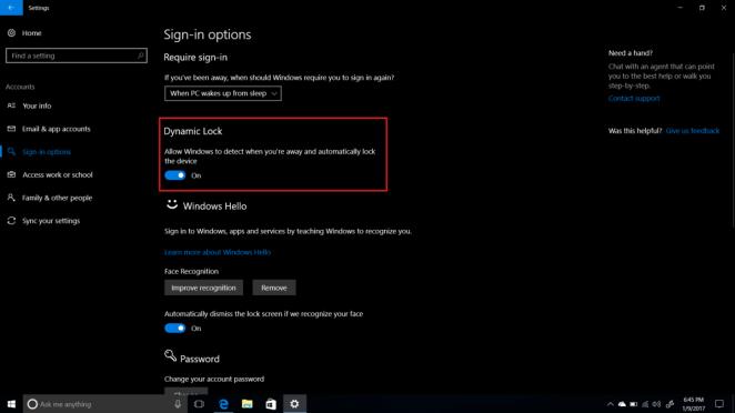 Windows 10 dynamic lock