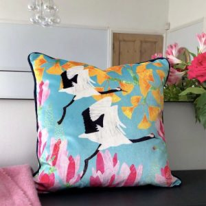 Shimmer Velvet Cushion – Red Crowned Cranes, Ginkgo & Magnolia