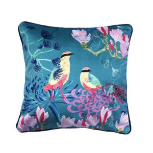 Shimmer Velvet Cushion – Songbirds