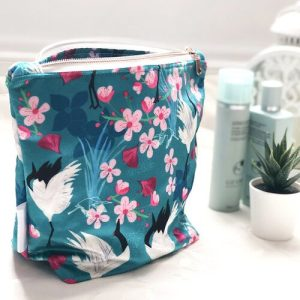 Shimmer Velvet Washbags – Red Crowned Cranes