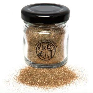 Gold Fine bio glitter, glass jar