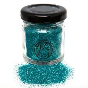 Turquoise Fine bio glitter, glass jar