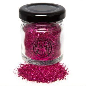 Pink chunky mix bio glitter, glass jar