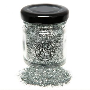 Silver chunky mix bio glitter, glass jar