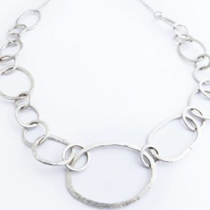 Handmade Hammered Silver Chain Necklace