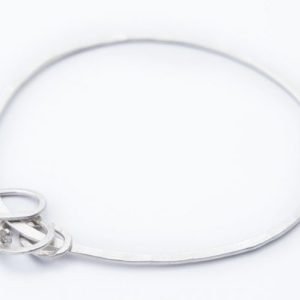 Oval Charm Eco-Silver Bangle